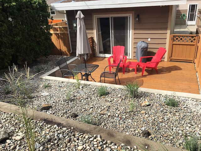 Your private patio - has electric BBQ grill.