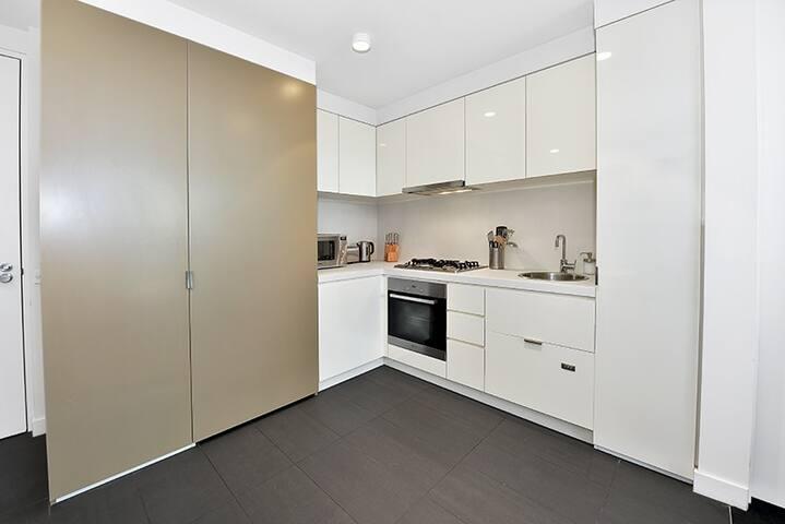 Fridge behind cupboard door + Dishwasher