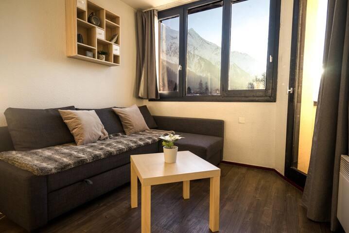 *Apprt 1 chambre, cosy, vue Mt-Blanc,bien situé*