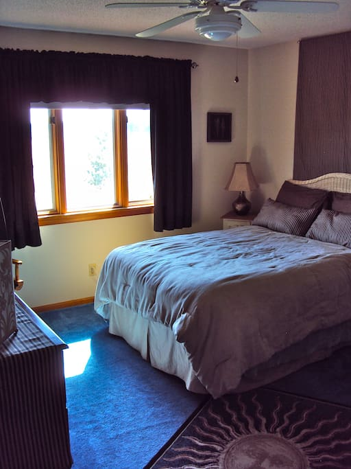 Private Double Bedroom with Views of our 50 Acres of Wild Grasses!