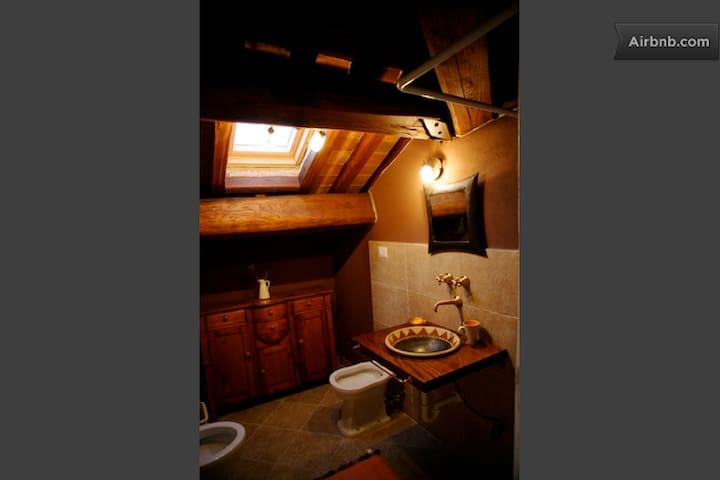 bathroom orange room attic