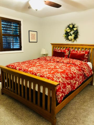Memory foam mattress to keep you from getting overheated, and a down comforter to keep you cozy warm