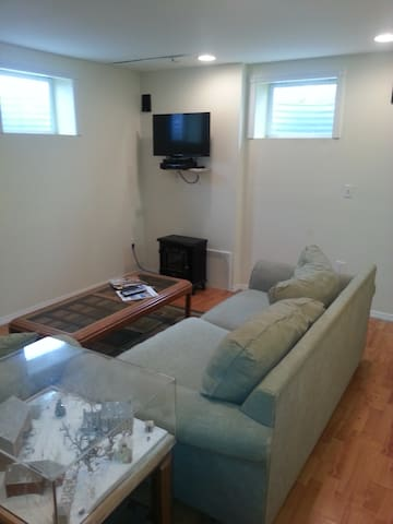 Living room with flat screen TV and DVD Player.  Bright windows for a basement apartment