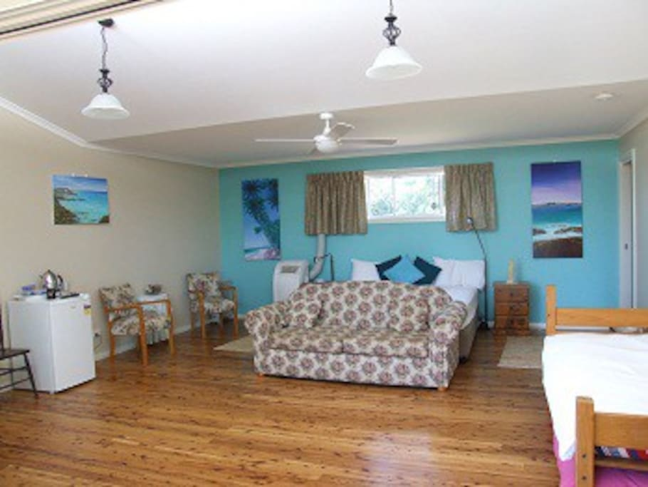 Our Aqua Studio suits a family. All studios have king size beds. Huge ensuites in each studios and entry onto a large verandah.