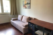 Office room with separate bed sofa  1,40 x 2,0 meter