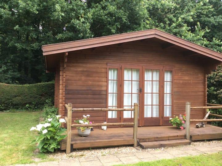 Log cabin in secluded garden