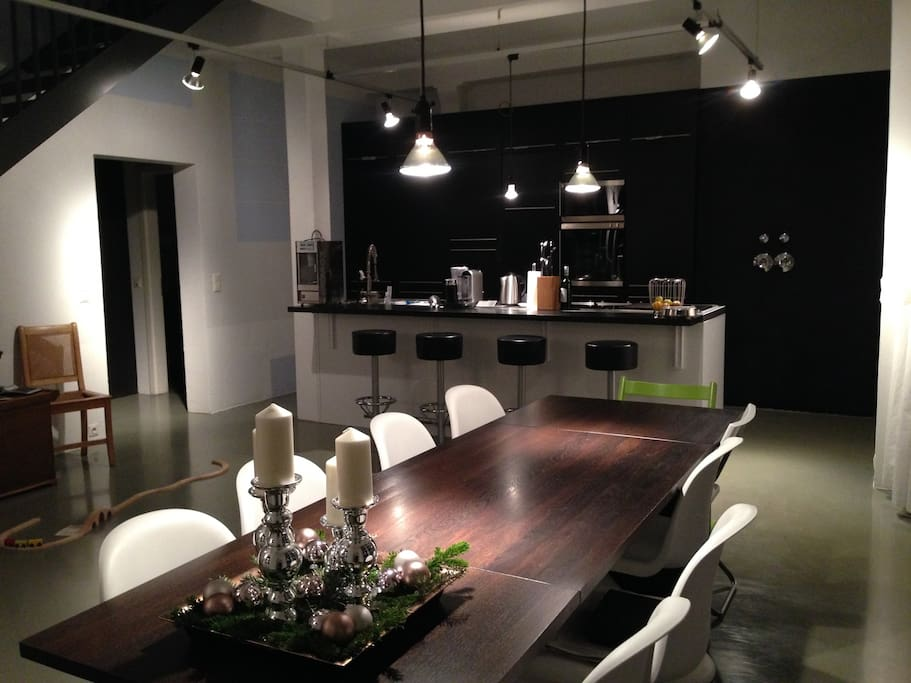 Our open and very spacious kitchen and dining area