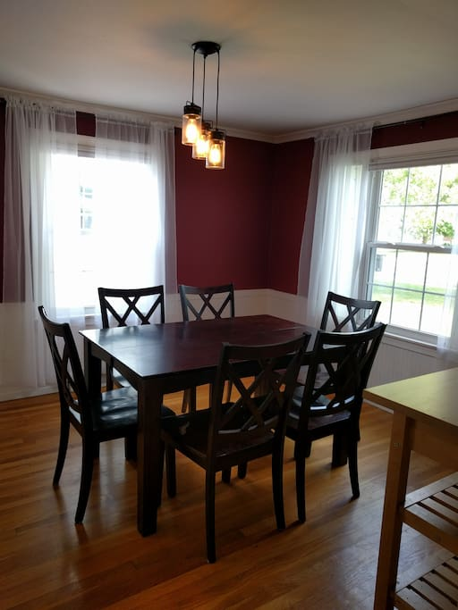 Dining room - The table expands to be a square and comfortably seats 8 in that configuration.
