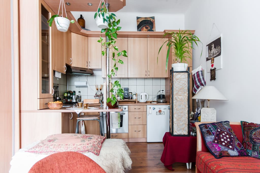 You can have your meal in kitchen space.