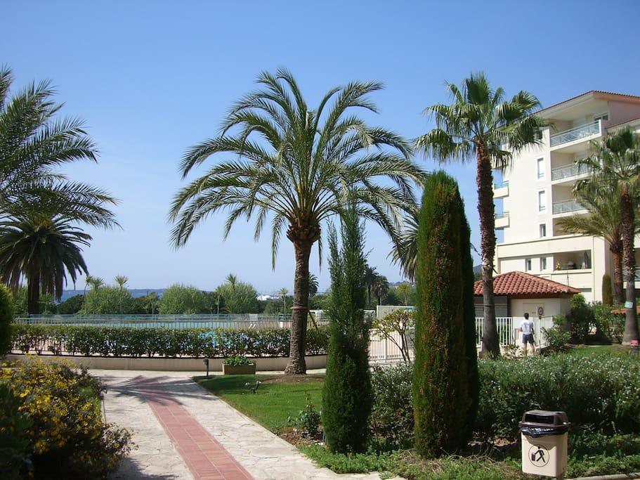 Jardin and pool.
