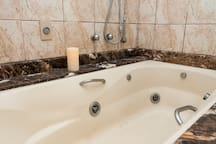jetted tub in main bathroom