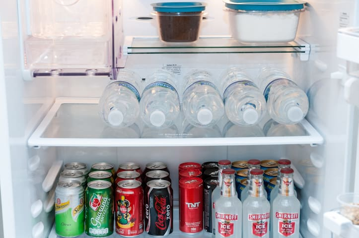 stocked refrig with beverages for sale