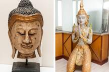 Buddha and angel statues