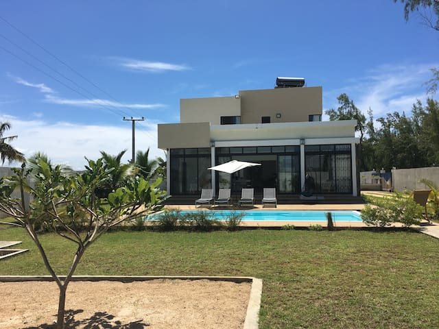 View of villa and private pool from Garden