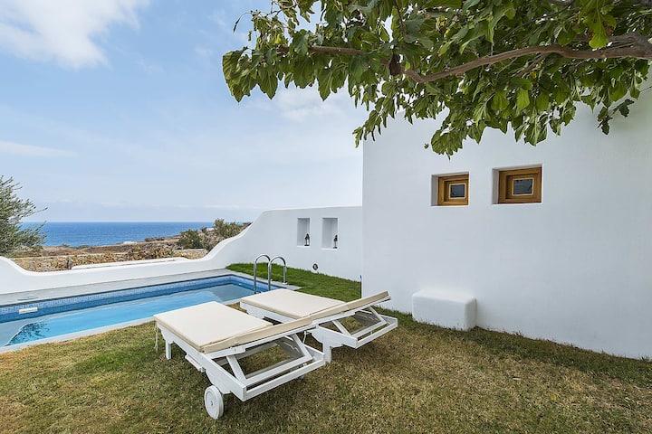 Villa Vorias with pool and sea view in Santorini