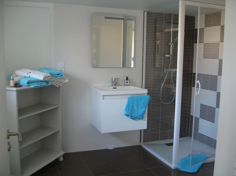 Salle d'eau de 12 m2. Douche bac extra plat + sèche serviettes, vasque lavabo et WC