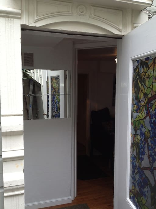Front door to the apartment.  You enter from the private courtyard.