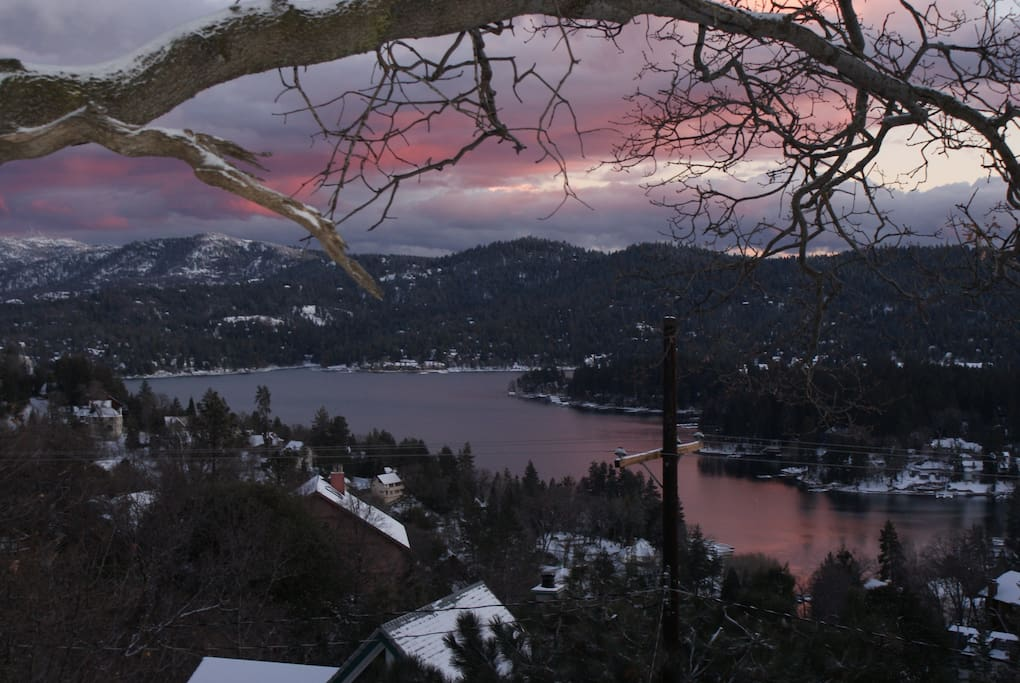 Taken from top of 3 levels of our home here in Lake Arrowhead.  After a Winter storm.  Isn't it purrrty?