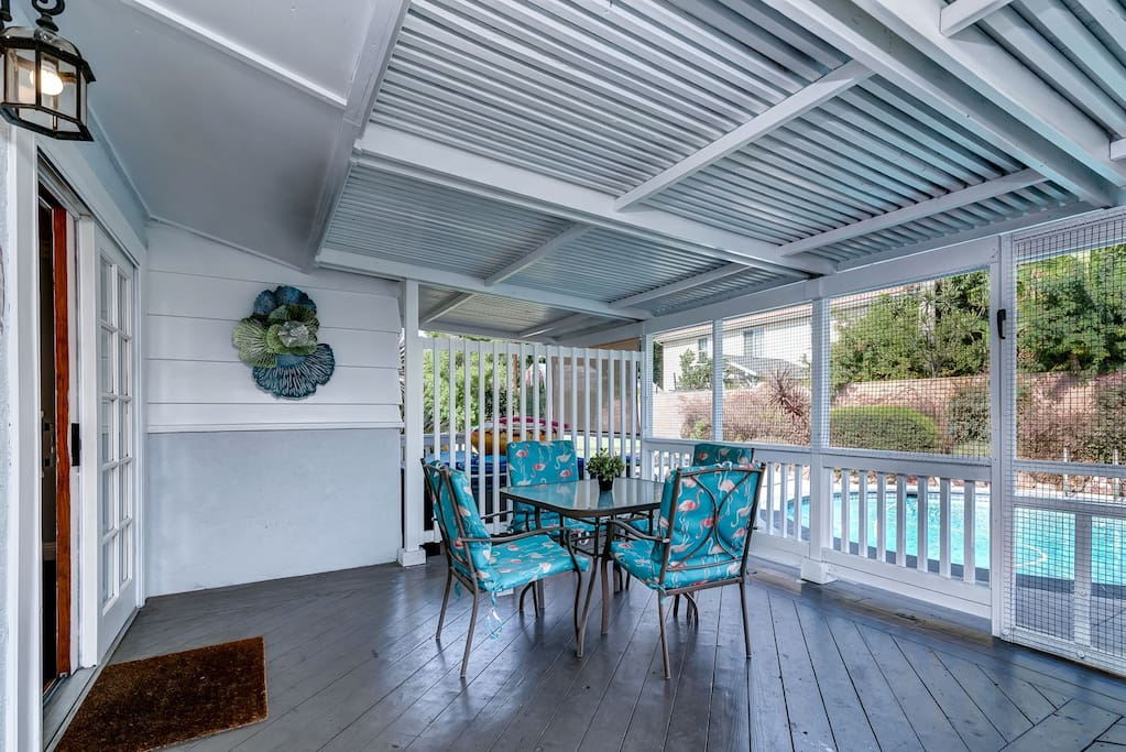 Relax under the covered patio on hot Southern California days.