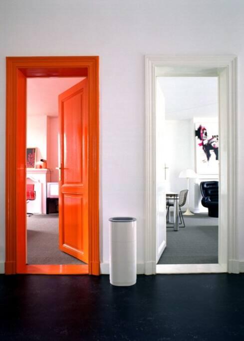 Orange room & white room.
