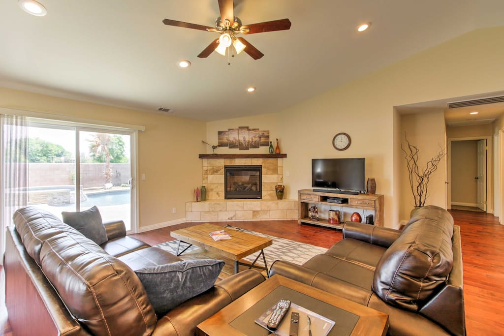 Comfortable leather furnishings and modern decor mark the main living space.