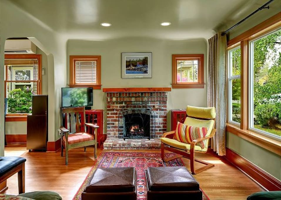 Seattle atmosphere with original brick fireplace