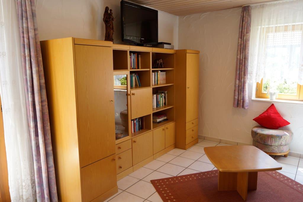 TV und Bücher im Wohnbereich