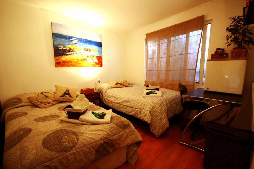 "Main room. 2 wide beds of ""1,5 plazas"" & large closet. It has hosted lonely travelers, couples and families of 4 people."