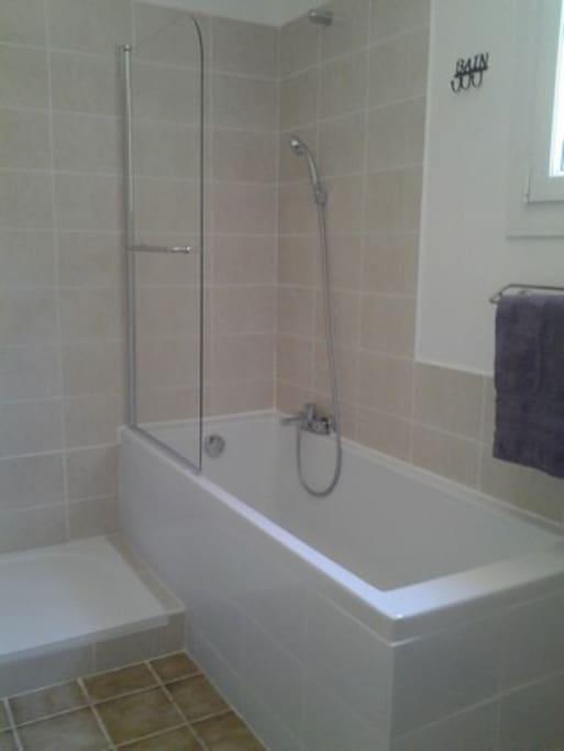 Salle de bains baignoire et  douche