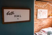 All guests are greeted with a personalized sign as they enter the guest room.
