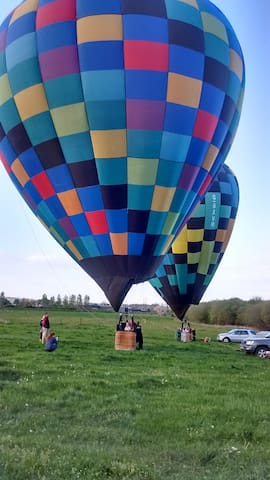 View of Hot air balloons taking off from field next door