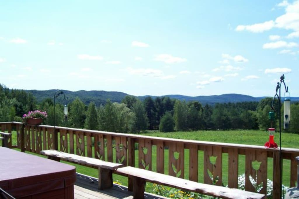 Our home is on the side of a mountain with full Western and Southern Views and big decks to enjoy it all.  We border on the Cambridge State Forest, home of some of oldest and biggest trees in the State of Vermont.