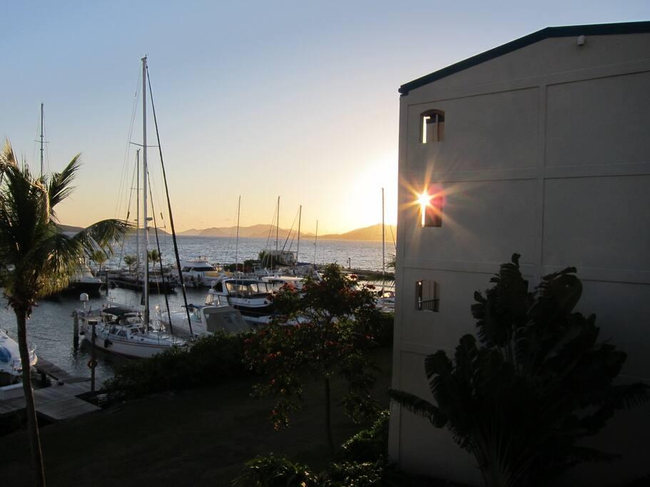 Sunrise over Saint John from the balcony.