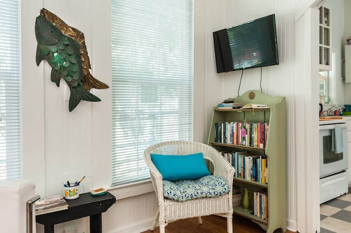 Reading nook!  see a book you like?  please feel free to take it!