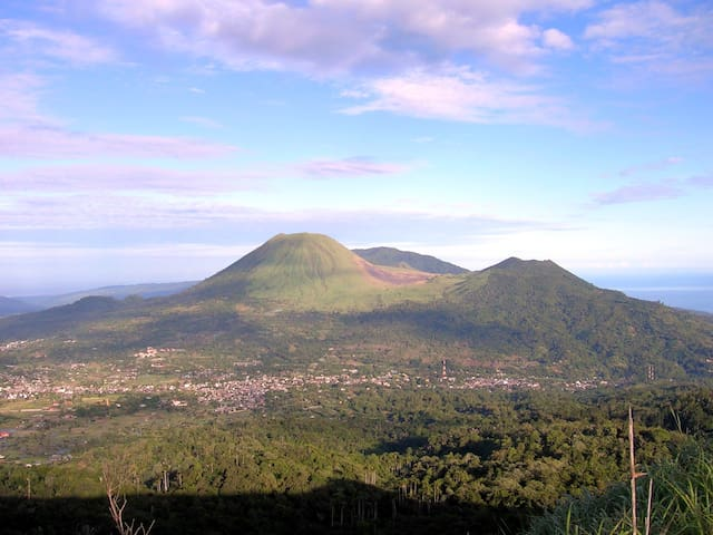 the view of tomohon city from mount mahawu