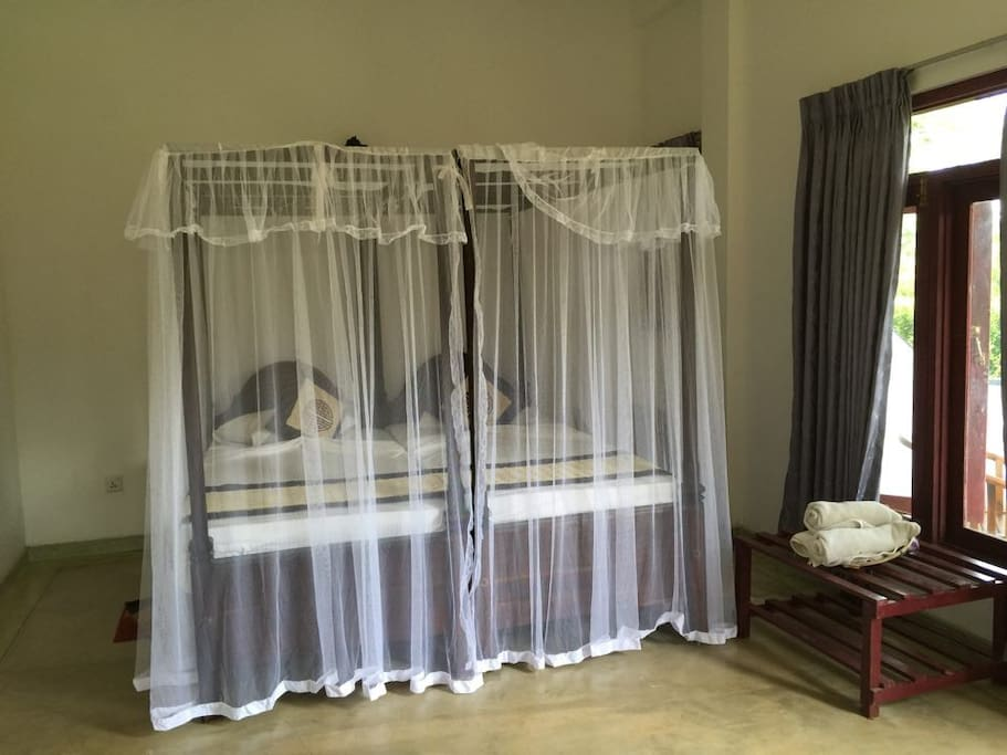 The Beds with Mosquito nets