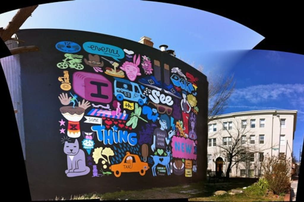 The DC mural on the side of our house!