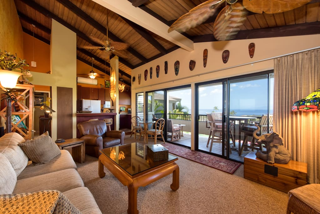Living room featuring high ceilings, open floor plan, and stunning 180 degree views.