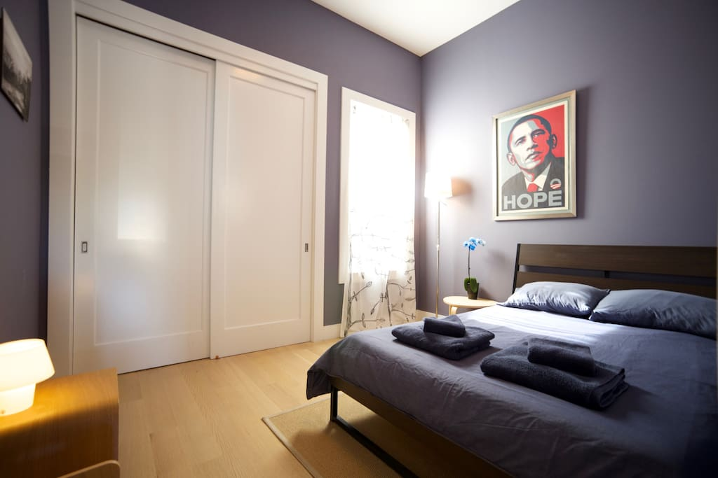 Double-bed, sleeps two. Shepard Fairey signed prints. Room is smaller than it looks in this photo.