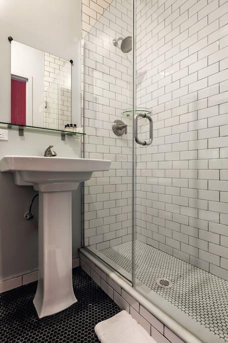 Subway Tile and Glass Enclosure