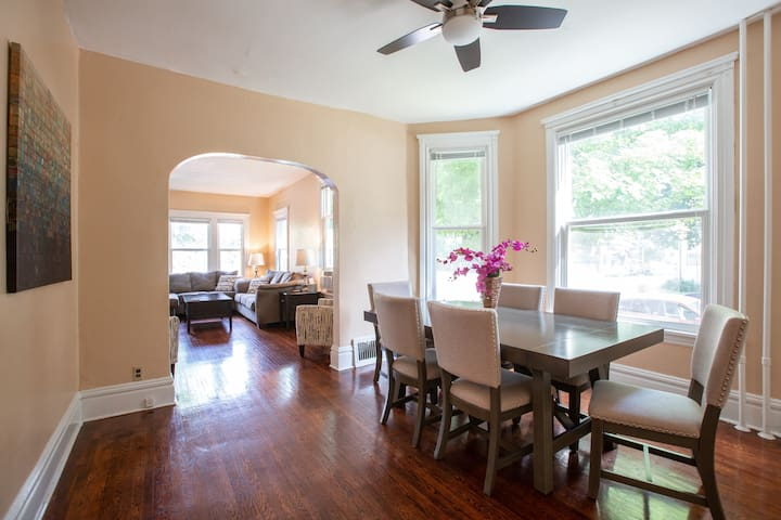 Open floor plan through out the living room and dining room is great for socializing and facilitating larger groups.