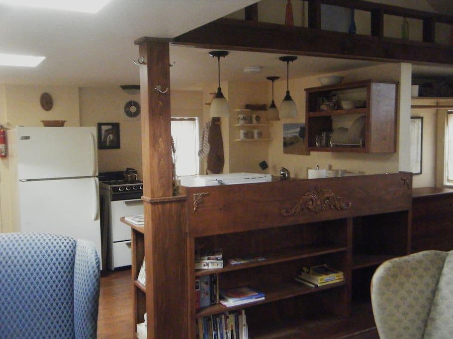 custom woodwork and plenty of room for your stuff - open floor plan