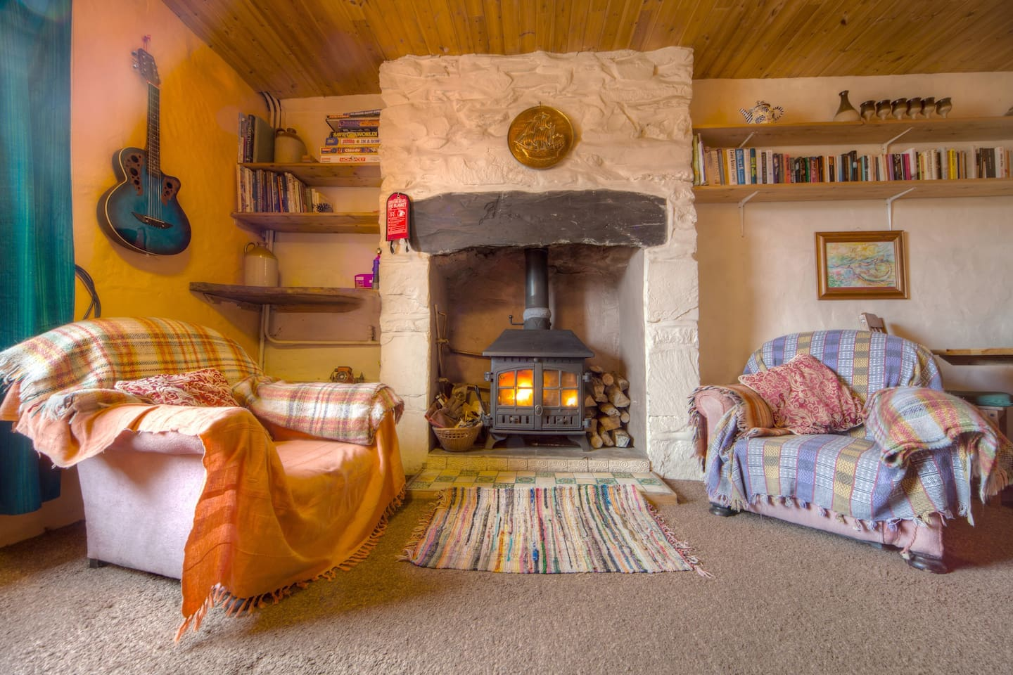 plenty of cushions and blankets for getting really snug when the wind is howling outside and you are back from a long walk in the mountains