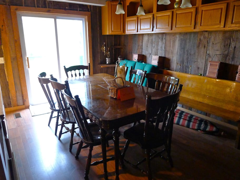 Dining room and sliding doors to deck