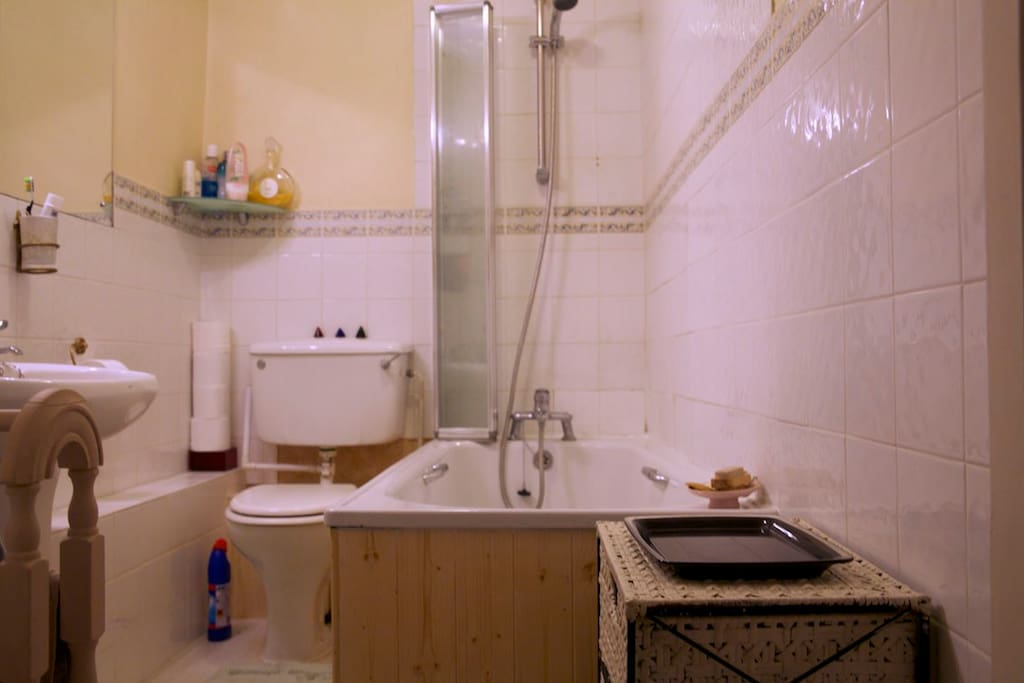 Bathroom - bath with overhead shower
