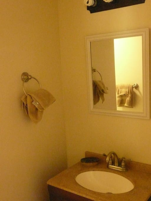 Mirror over the bathroom sink. I don't have a good enough camera to get the right angle to show the full bathroom.