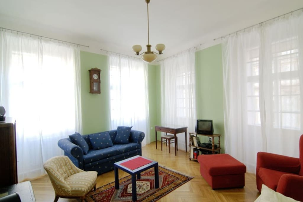 1st floor apartment of Eclectic Apartments - living room (free Wi-Fi)