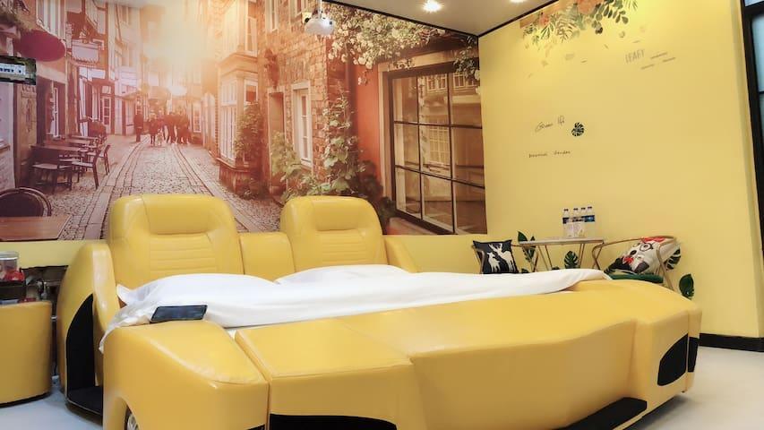 电动床!浴缸房!新玛特附近主题影院公寓