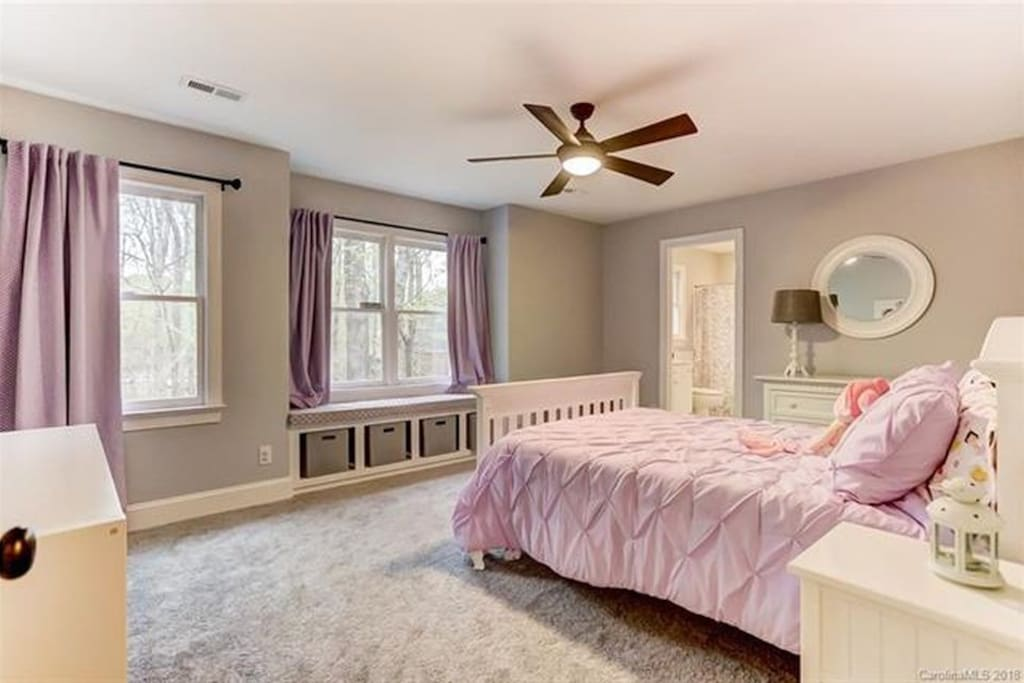 The Room Available. Colors have been updated to neutral,  windows open to a view of backyard. Dresser and nightstand available, & a reading light.