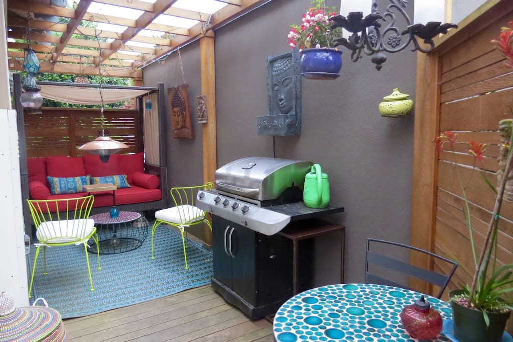 The wrap around side deck now has a roof and rainproof complete with the most comfortable outdoor daybed Perfect spot for a nap in the warmer months! Also, gas grill & pendant heater for outdoor dining & relaxing.